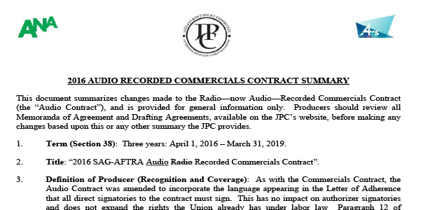 2016 Sag Aftra Audio Recorded Commercials Contract Summary Joint