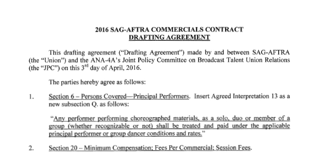 2016 Sag Aftra Commercials Contract Drafting Agreement Joint