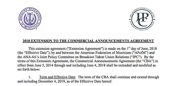 2018 Extension To The Commercial Announcements Agreement Joint