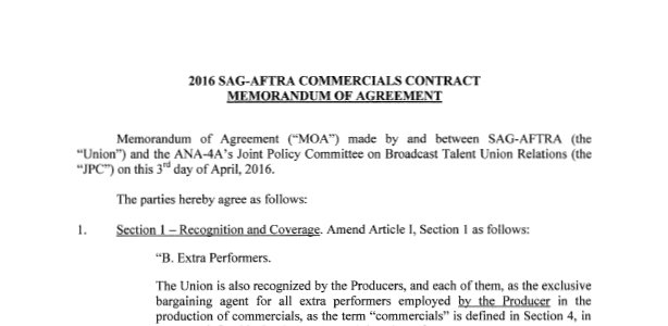 2016 SAG – AFTRA Commercials Contract Memorandum of
